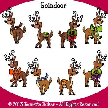 Reindeer Clip Art by Jeanette Baker