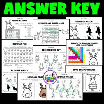 Christmas Worksheets (Reindeer Activities for Kindergarten, 1st and 2nd Grade)