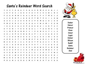 Reindeer Activity | Reindeer Christmas | Christmas Word Search