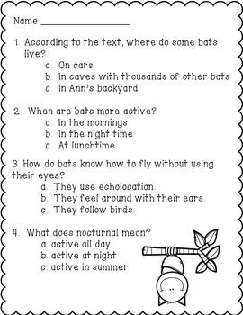 Bats- A Non-fiction Reading Comprehension Passage for Grades 1-3, Homeschool