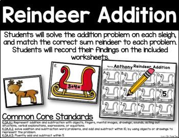 Reindeer Addition - Addition Practice
