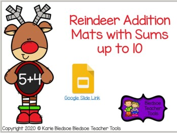 Reindeer Addition Mats with Sums up to 10