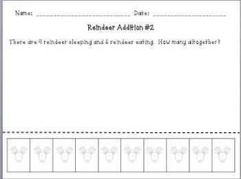 Reindeer Addition Word Problems (Cut & Paste)