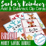 Reindeer Addition and Subtraction Within 10 Clip Cards BUNDLE