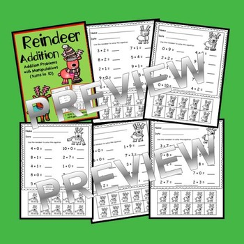 Reindeer Addition with Manipulatives (sums to 10)