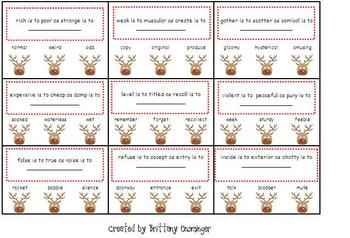 Reindeer Analogies - Synonyms and Antonyms