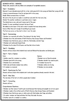 Reindeer Antics Christmas Comprehension - Reading Strategy Worksheet