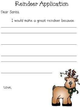 Reindeer Application FREEBIE