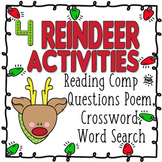 Reindeer BUNDLE - Reading Comp and Question Poem, Crossword, Word Search