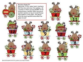 Reindeer Bump It! Math Center Kindergarten and First Grade