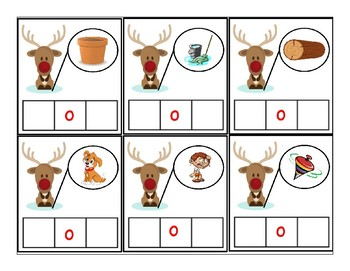 Reindeer CVC picture cards with vowel