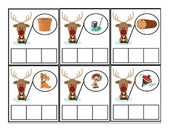 Reindeer CVC picture clue cards