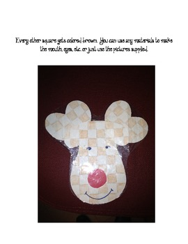 Reindeer Checkerboard Pattern Coloring and Writing