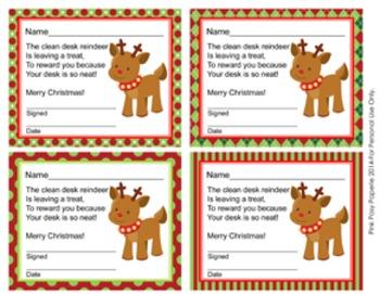 Reindeer Christmas Clean Desk Awards
