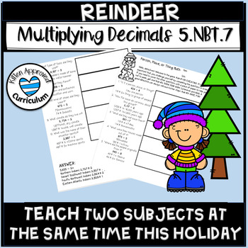 Reindeer Activity Christmas Multiply Divide Decimals Math Enrichment 5th