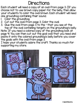 Groundhog Day Speech Craft (articulation language) Craftivity