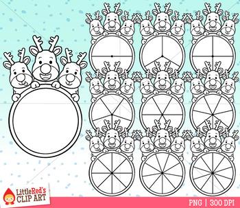 Reindeer Spinners Christmas Clip Art