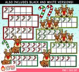 Reindeer Christmas Ten Frames Clip Art