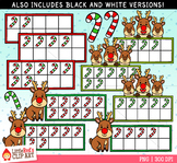 Reindeer Christmas Ten Frames Clip Art