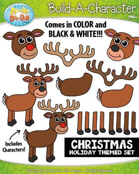 Reindeer Christmas Themed Build-A-Character Clipart {Zip-A-Dee-Doo-Dah Designs}