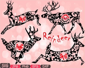 Reindeer Circle deer Jungle Animal mascot school Clipart santa Christmas 408s