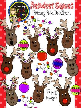 Reindeer Clip Art {Primary Polka Dots Clip Art}