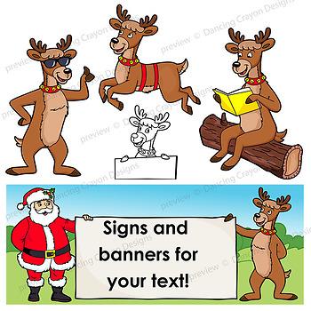 Reindeer Clip Art | Reindeer with signs