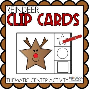 Reindeer Clip Cards Preschool