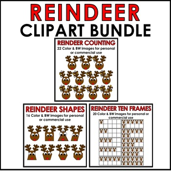 Reindeer Clipart BUNDLE Color & BW Personal or Commercial Use