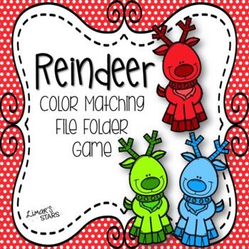 Reindeer Color Matching File Folder Game
