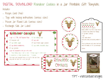 Reindeer Cookies in a Jar Printable Label Tags Set