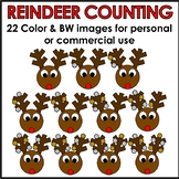 Reindeer Counting Clipart Color & BW Personal or Commercial Use
