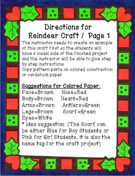 Reindeer Craft, Holiday Craft, December Craft