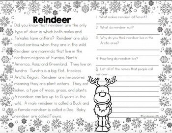 Reindeer Day Reading Passages