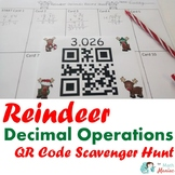 Reindeer Decimal Operations QR Code Scavenger Hunt: Engaging Christmas Math