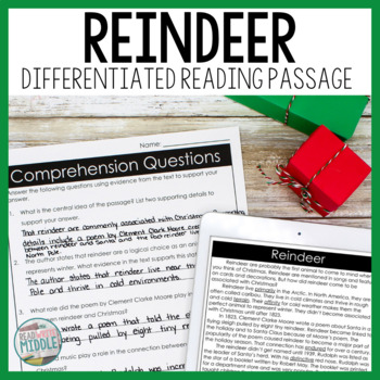 Reindeer Differentiated Reading Passage & Activities