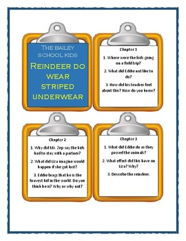 Bailey School REINDEER DO WEAR STRIPED UNDERWEAR - Discussion Cards