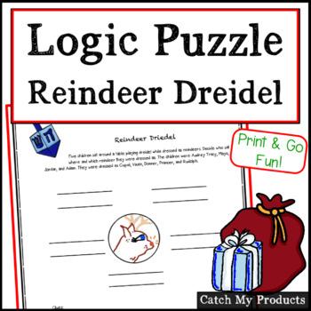 Christmas Logic Puzzle / Chanukah Logic Puzzle: Reindeer Dreidel