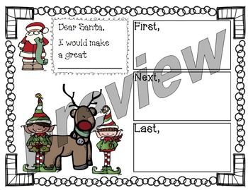 Reindeer Elf Christmas Opinion Letter Writing Activity AND Banner