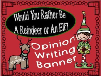 Reindeer Elf Christmas Opinion Letter Writing Banner Title