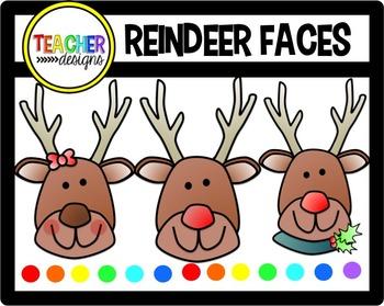 Reindeer Faces Clip Art