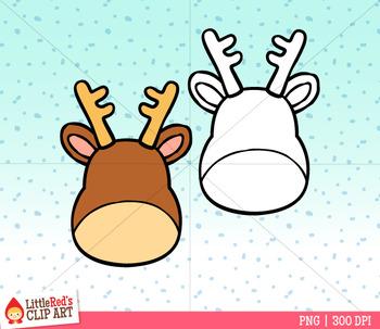 Reindeer Faces Christmas Clip Art