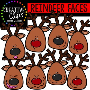 Reindeer Faces {Creative Clips Digital Clipart}