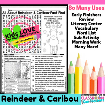 All About Reindeer: Reindeer Reading and Word Search Activity
