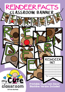Reindeer Facts Banner {Bunting, Garland, Pennant Display}