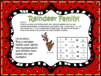 Reindeer Family (Multiplication & Division Fact Families)