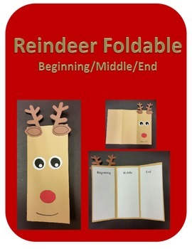 Reindeer Foldable, Beginning/Middle/End Writing(Christmas)