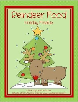 Reindeer Food Holiday Freebie