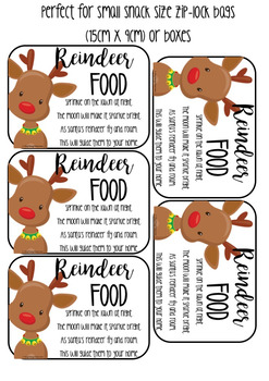 photograph about Reindeer Food Labels Printable referred to as Reindeer Foods Labels with poem printables