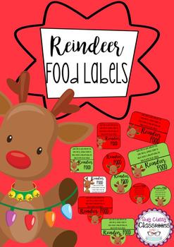 Reindeer Food Labels with poem printables
